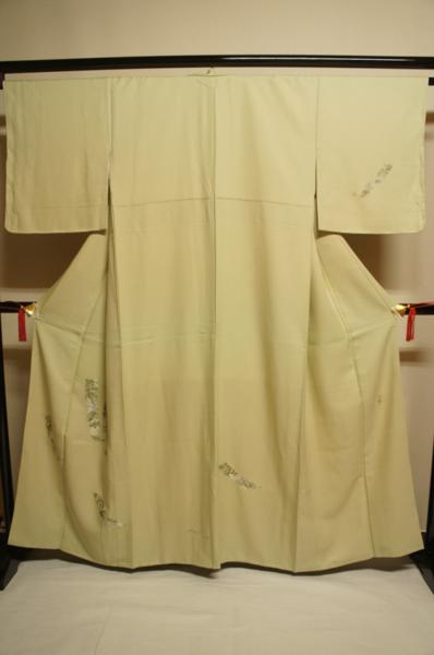 特選硫黄色ぼかし刺繍短冊に松模様未着用訪問着[H10429]_硫黄色ぼかし刺繍短冊に松模様未着用訪問着