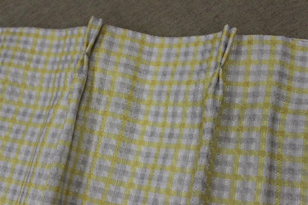 ☆デザインドレープカーテン:100×200cm:2枚 YE×IVブロック/立体織り/形状記憶プリーツ☆421_画像1