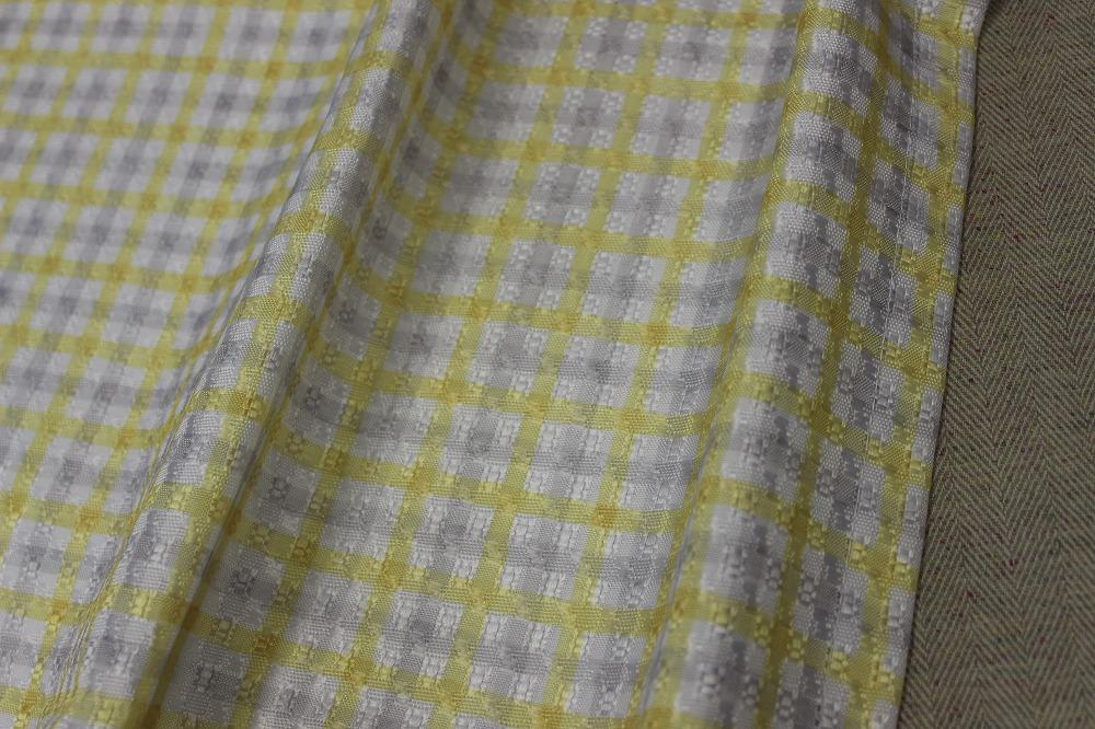☆デザインドレープカーテン:100×200cm:2枚 YE×IVブロック/立体織り/形状記憶プリーツ☆421_画像2