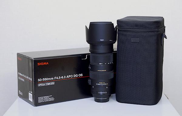 美品 SIGMA シグマ APO 50-500mm F4.5-6.3 DG OS HSM 高倍率超望遠ズームレンズ ニコン用 元箱/専用ケース付
