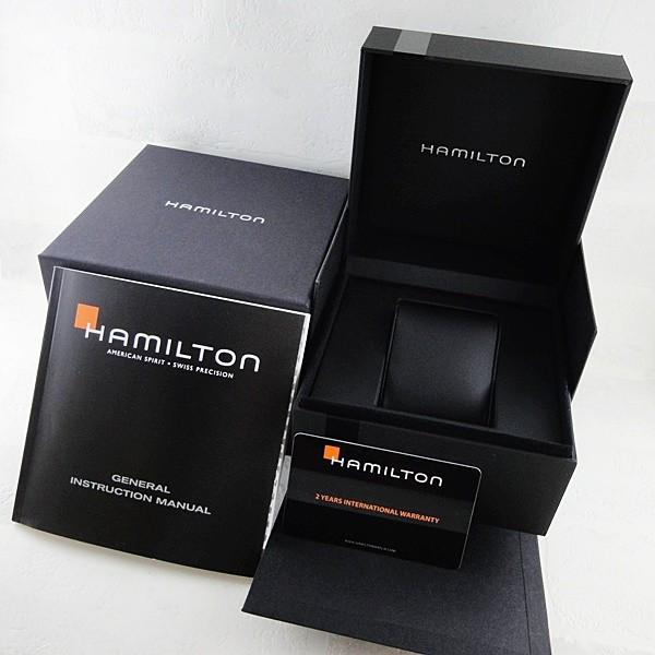 1円~×2本 新品 本物 HAMILTON ハミルトン JAZZMASTER ジャズマスター 本革ベルト クロコ型押し クロノグラフ 美しいブラックレザー_画像8