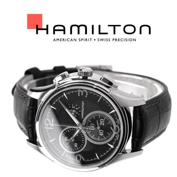 1円~×2本 新品 本物 HAMILTON ハミルトン JAZZMASTER ジャズマスター 本革ベルト クロコ型押し クロノグラフ 美しいブラックレザー