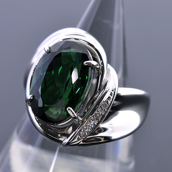A131【BSJJ】Pt900 天然グリーントルマリン5.62ct ダイヤモンド0.03ct リング 宝石鑑別書 中央宝石研究所_画像2