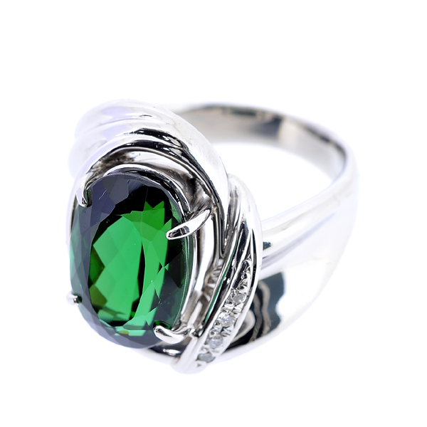 A131【BSJJ】Pt900 天然グリーントルマリン5.62ct ダイヤモンド0.03ct リング 宝石鑑別書 中央宝石研究所_画像3