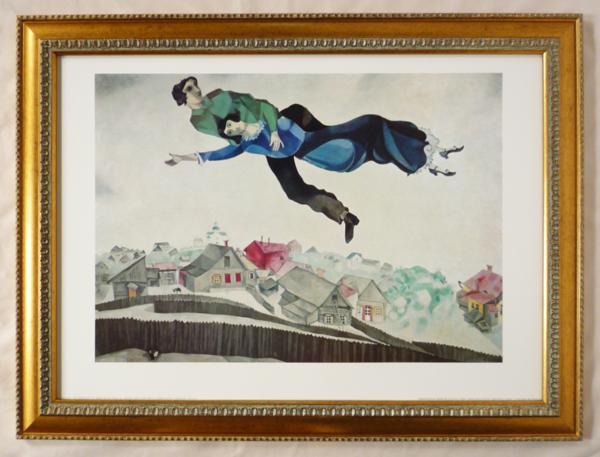 額装ポスター シャガール作「街上の恋人」 50X70cm-新品-即決-_画像1