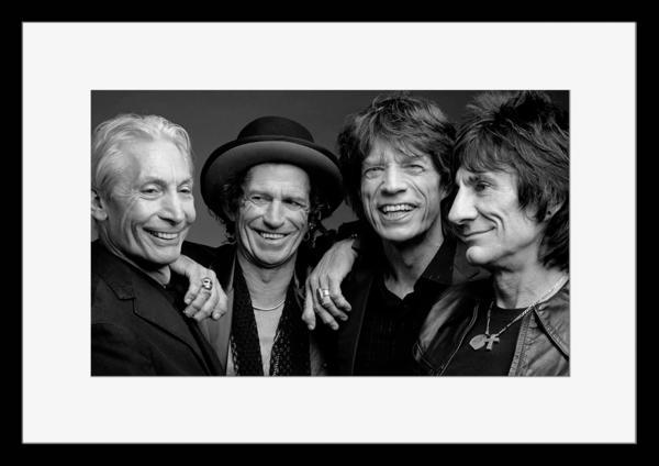 BW:人気ロックバンド!ザ・ローリング・ストーンズ/The Rolling Stones/モノクロ写真フレーム-1