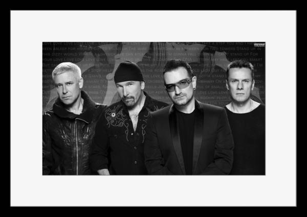 BW:人気ロックバンド!ユートゥー/U2/モノクロ写真フレーム-3