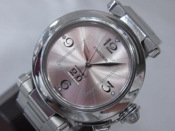 1円~Cartier カルティエ パシャC ビッグデイト ボーイズ オートマ ピンク 本体のみ 腕回り16.5cm 動作OK