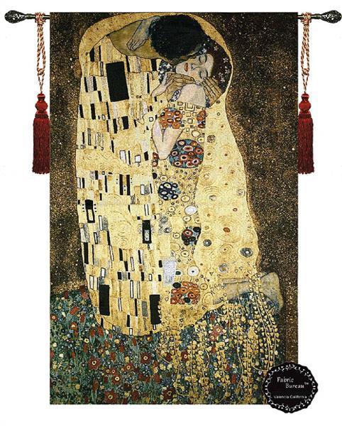 タペストリー/ グスタフ・クリムト作「接吻」サイズ 幅 90cm×長さ 1140cm タッセル付き/ Gustav Klimt Geometric Abstract the Kiss _画像1