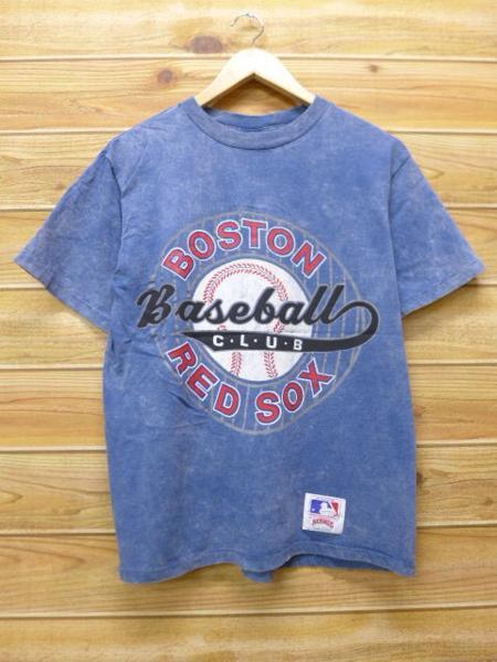M★古着 中古 ビンテージ Tシャツ 90年代 MLB ボストンレッドソックス USA製 薄紺 タイダイ 17aug08 グッズの画像