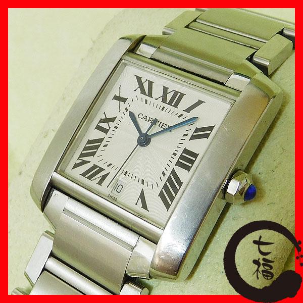 1円Y【カルティエ】タンクフランセーズLM W51002Q3 ホワイト文字盤 SS オートマティック 人気 メンズ 時計 中古