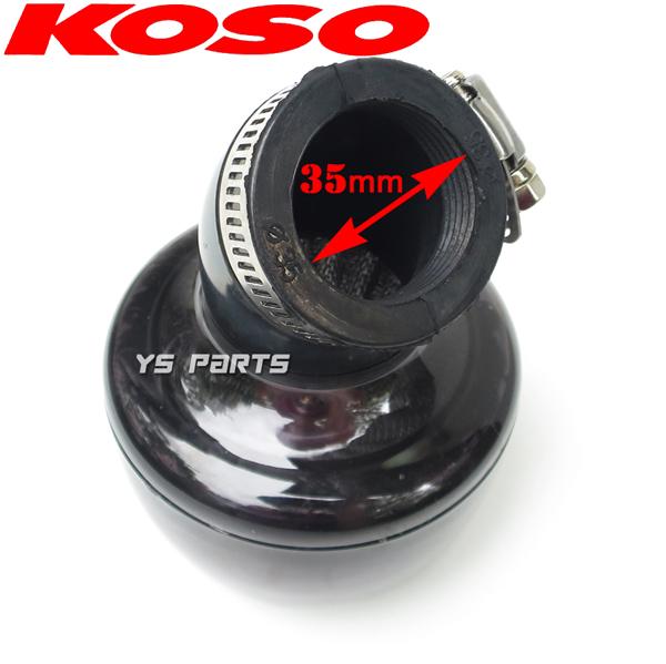KOSOタービンフィルター35mm黒/赤TZM50R/TZR50R/RZ50/アクティブ/ジョグスポーツ2JAチャンプRS/エクセルチャンプCXボクスンBW'S50(3AA)_画像4