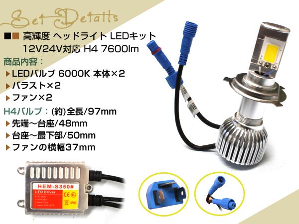 ステップワゴンRF1/2 LED ヘッドライト H4 リレーレス 7600lm CREE スライド 切替 HI/LO 12V/24V バラスト バルブ バーナー ファン付COB2