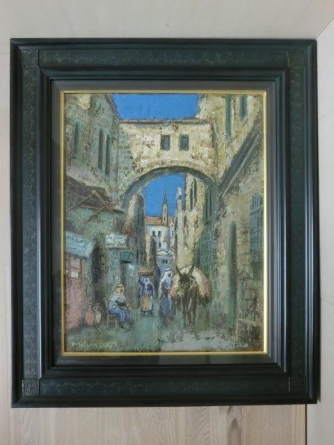 t1326 松尾洋明 「エルサレムの道」 油彩画 画サイズ/W31.6×H41cm 額装サイズW46.3×H55.4×D5.7cm_画像1