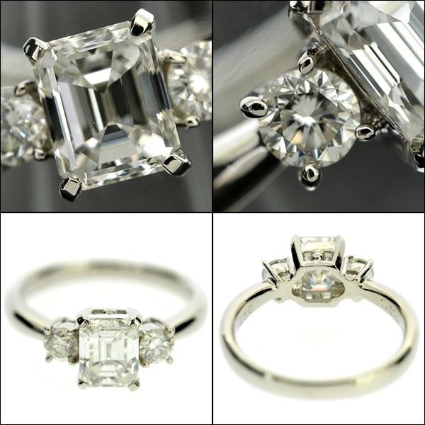 【BSJJ】Pt900 ダイヤモンド1.014ct+0.27ct リング G/SI-1/EM/中央宝石研究所 プラチナ 約9号 エメラルドカット 本物_画像2