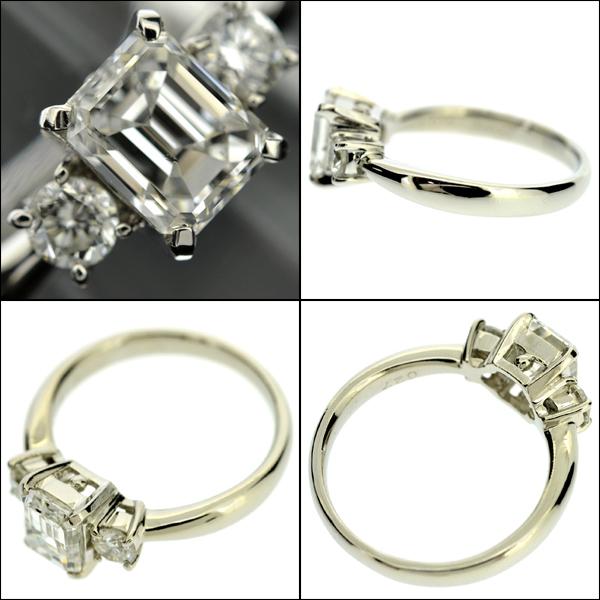 【BSJJ】Pt900 ダイヤモンド1.014ct+0.27ct リング G/SI-1/EM/中央宝石研究所 プラチナ 約9号 エメラルドカット 本物_画像3