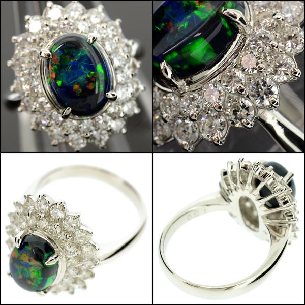 【BSJJ】Pt900 ブラックオパール1.22ct ダイヤモンド1.50ct リング プラチナ 宝石鑑別書 中央宝石研究所 約9号 本物_画像2