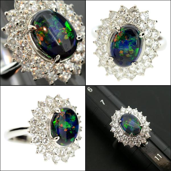 【BSJJ】Pt900 ブラックオパール1.22ct ダイヤモンド1.50ct リング プラチナ 宝石鑑別書 中央宝石研究所 約9号 本物_画像3