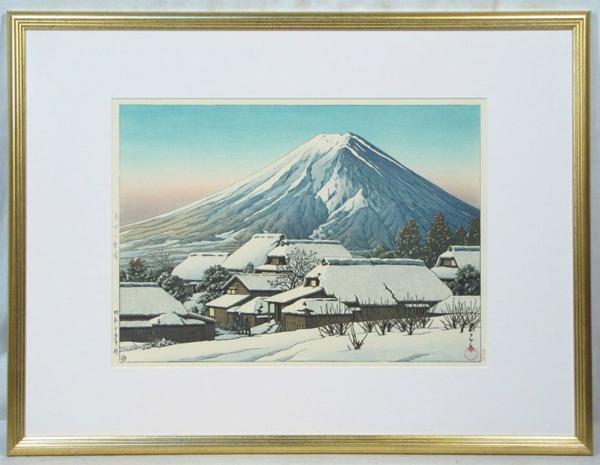 川瀬巴水 「吉田乃雪晴」 額装8号大 代表作品