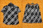 ★070156【バーバリーロンドン】大きいサイズ★ノバチェック柄ホース刺繍半袖シャツ×スカート セットアップスーツ★46★BURBERRY LONDON