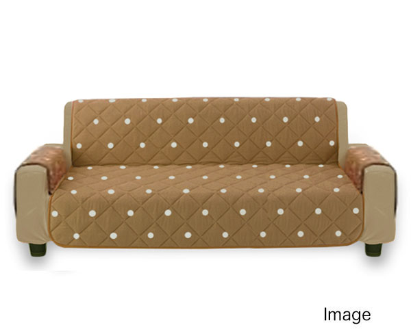 F5453■訳あり 肘あり ソファーカバー 中掛け 綿100% オーガニックコットン Lサイズ 幅145x165cm ドット柄 ブラウン_使用イメージ