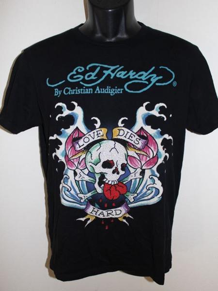 エドハーディー ED HARDY メンズ半袖Tシャツ ブラック Mサイズ 新品 黒_画像1