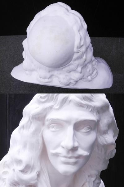 ♯1 [引取限定] 石膏像 モリエール 胸像 美術 デッサン オブジェ 全高約87cm_画像5