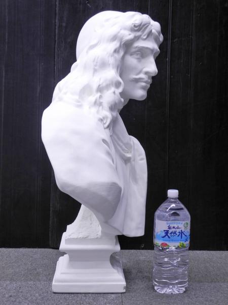 ♯1 [引取限定] 石膏像 モリエール 胸像 美術 デッサン オブジェ 全高約87cm_画像4