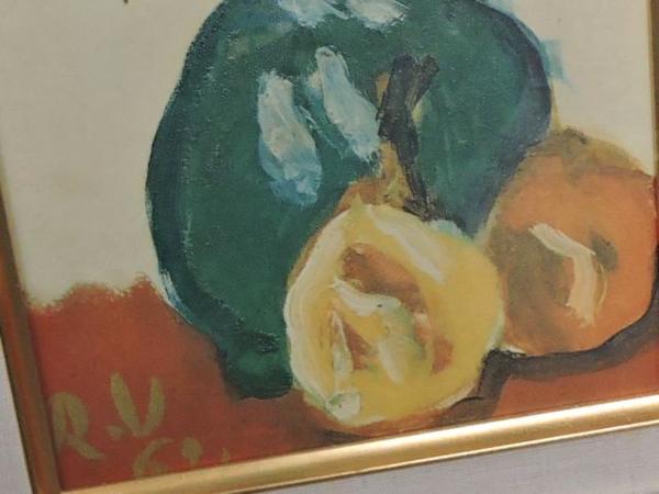 ※同梱不可※梅原龍三郎◇1962年 アネモネ 油絵▼花 花瓶 額付き 29G_画像2
