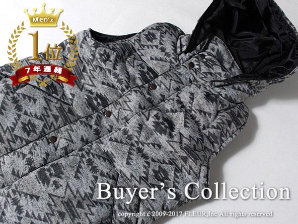 ◇新品◇Buyer's Select フード着脱可 柔らか素材 ニットフリース 中綿ベスト 【 M 】チマヨ柄/グレー / バイヤーズセレクト C8535