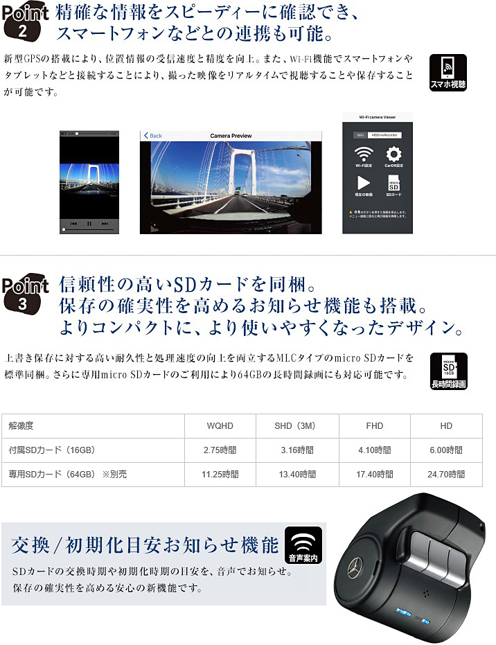 【M's】W222 Sクラス/W217 Sクラスクーペ(2013y-)純正品 ドライブレコーダー(※ 赤外線反射ガラス車専用)/ベンツ AMG 正規 M2228293010MM_画像3