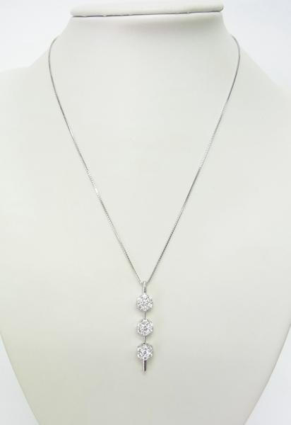 送料込みの即決価格!色んな形で使える!上質天然ダイヤモンド合計1.5ct 18金ホワイト製ペンダントネックレス 卸価格でご奉仕_画像4
