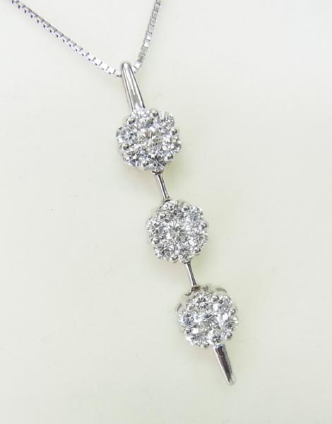 送料込みの即決価格!色んな形で使える!上質天然ダイヤモンド合計1.5ct 18金ホワイト製ペンダントネックレス 卸価格でご奉仕_かなりの上質石です!