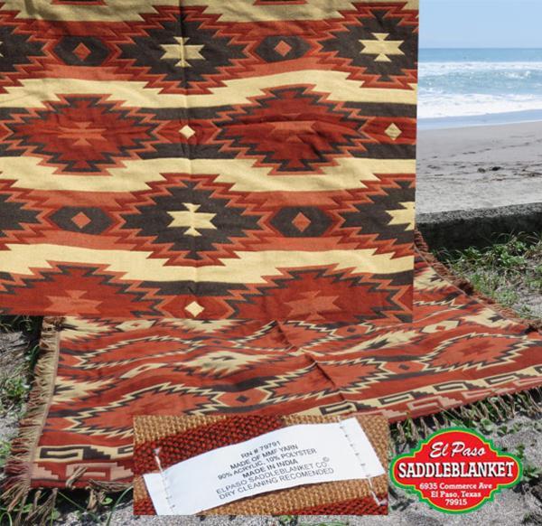 el paso/south west shawl/エルパソ/ブランケット/ショール/brw_表と裏で織り柄が異なります。