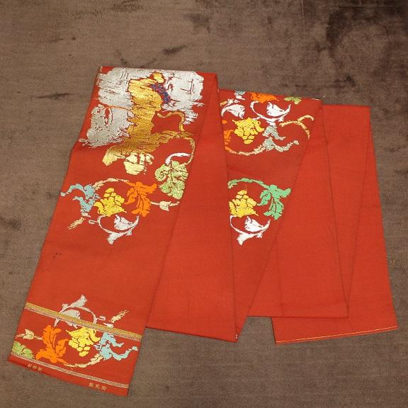 御威錦 龍村織物製 赤系の古代柄 袋帯0511M1r※_画像10