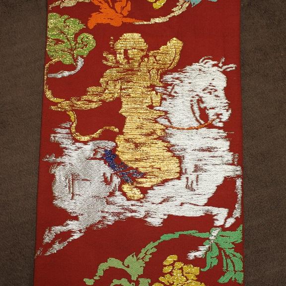 御威錦 龍村織物製 赤系の古代柄 袋帯0511M1r※_画像2