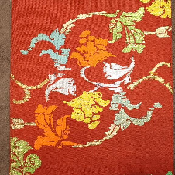 御威錦 龍村織物製 赤系の古代柄 袋帯0511M1r※_画像5