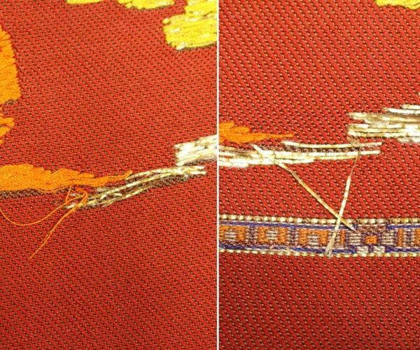 御威錦 龍村織物製 赤系の古代柄 袋帯0511M1r※_画像8