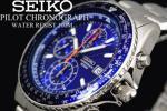 1円×大量10本 逆輸入SEIKO美しすぎるブルーパイロットクロノ