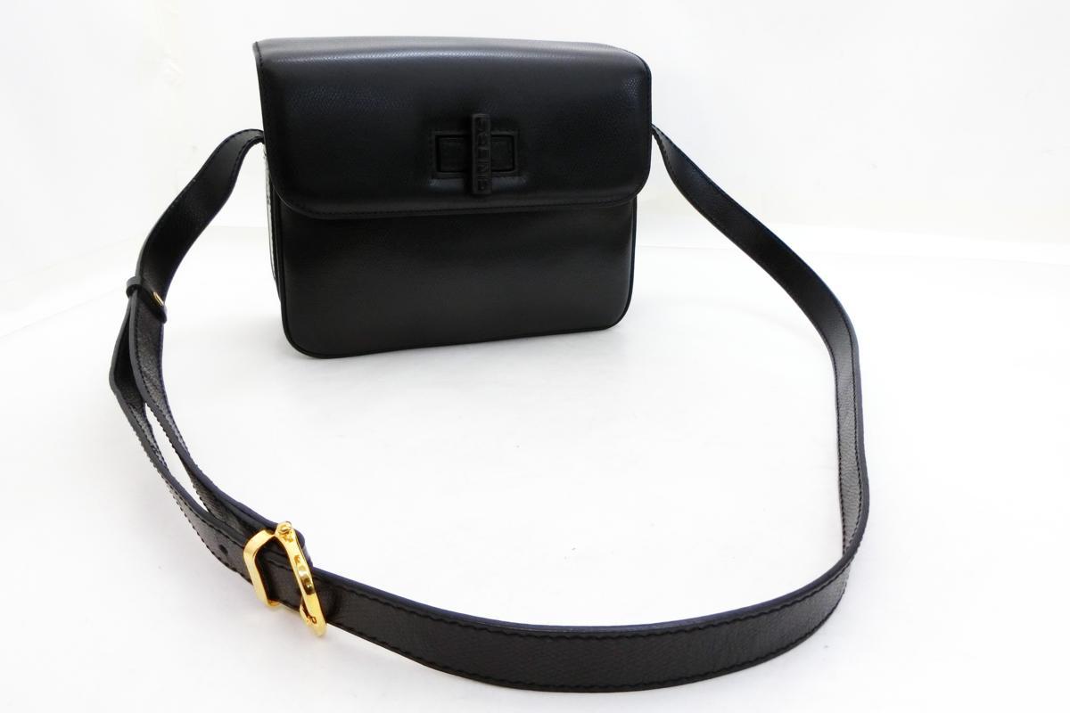 ◆S3060 CELINE セリーヌ ターン ロック金具 ヴィンテージ レザー ショルダー バッグ 美品