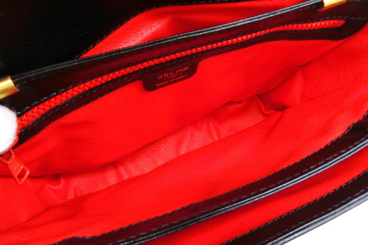 ◆S3060 CELINE セリーヌ ターン ロック金具 ヴィンテージ レザー ショルダー バッグ 美品_画像8
