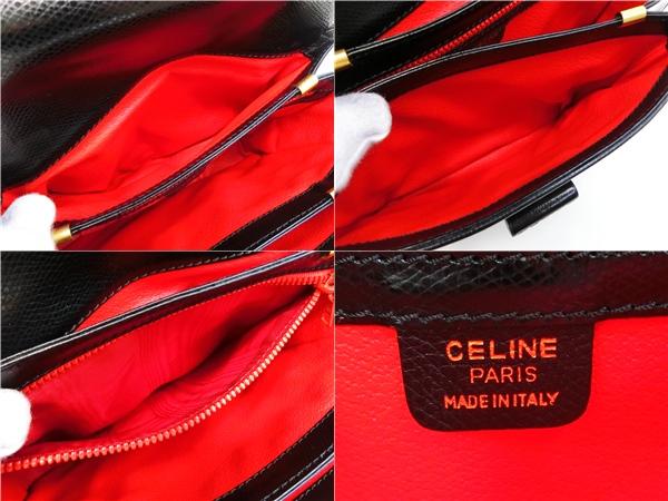 ◆S3060 CELINE セリーヌ ターン ロック金具 ヴィンテージ レザー ショルダー バッグ 美品_画像10