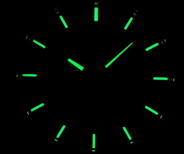 1円×3本 逆輸入セイコー 美しきエメラルドグリーンメタリック 100m防水 アラーム&クロノグラフ SEIKO 腕時計 新品未使用 メンズ 本革_ルミブライト蓄光