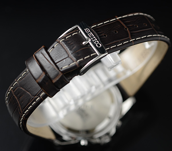 1円×3本 逆輸入セイコー 美しきエメラルドグリーンメタリック 100m防水 アラーム&クロノグラフ SEIKO 腕時計 新品未使用 メンズ 本革_しなやかな本革ベルト