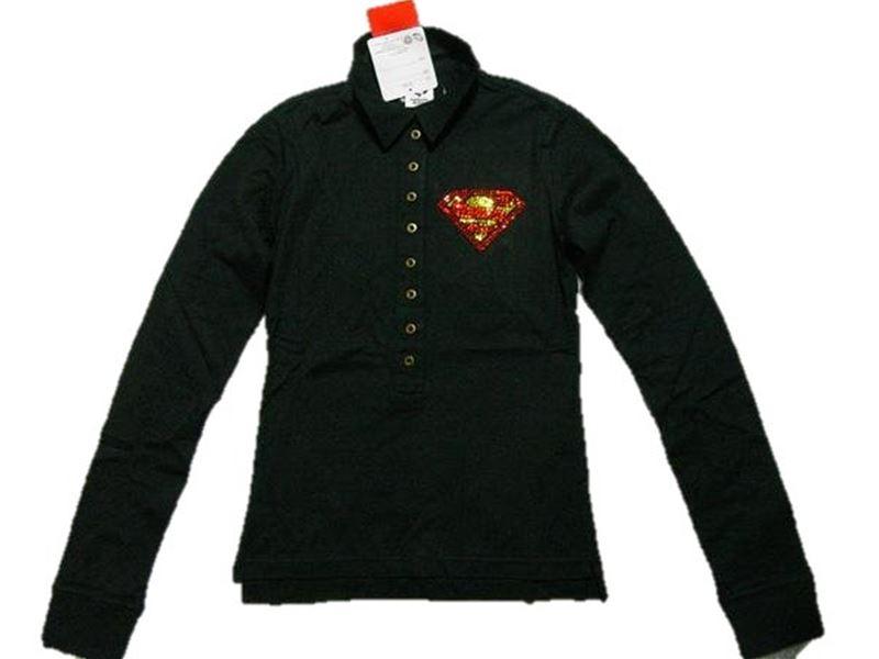 サディスティックアクション SADISTIC ACTION スーパーマン レディース長袖ポロシャツ ブラックxゴールド 新品_画像1