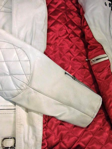 本革レザーライダース パッティング入UKタイプ 3568白-Lサイズ ヤフオク ライダースジャケット 新品 本革 本格仕様_画像9