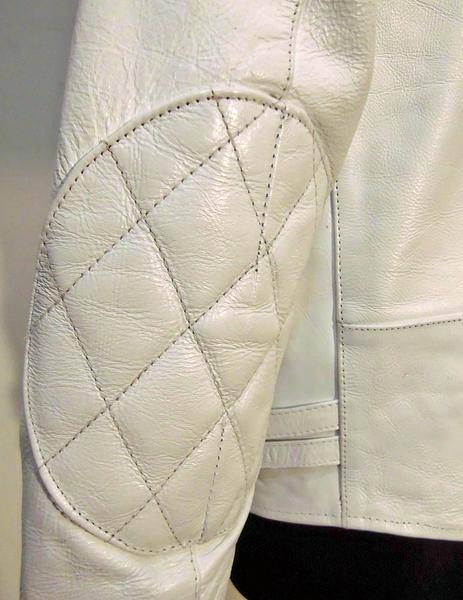 本革レザーライダース パッティング入UKタイプ 3568白-Lサイズ ヤフオク ライダースジャケット 新品 本革 本格仕様_画像8