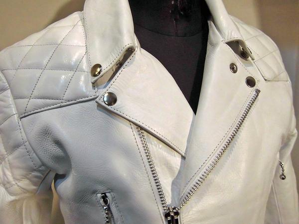 本革レザーライダース パッティング入UKタイプ 3568白-Lサイズ ヤフオク ライダースジャケット 新品 本革 本格仕様_画像6
