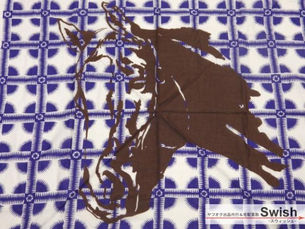 【D04】【GrandFabric 新品 ホース柄 スカーフ/ストール青×灰】_画像2