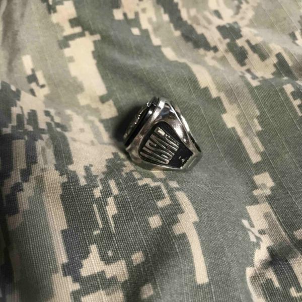 米軍USNAVY海軍銀色RING黒ミリタリーリング指輪8未使用A140_米軍 空軍 USAF ミリタリーリング黒石